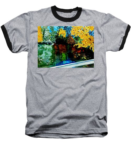 Baseball T-Shirt featuring the painting Brilliant Mountain Colors In Reflection by Lil Taylor