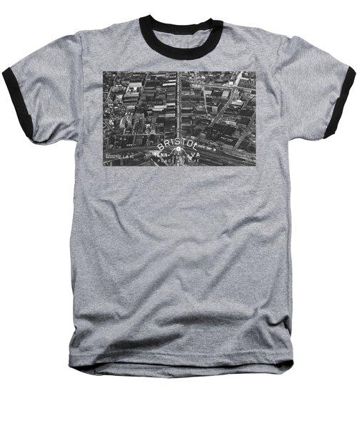 Bristol Virginia Tennessee Early Aerial Photo Baseball T-Shirt