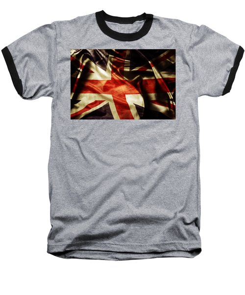 British Flag  Baseball T-Shirt by Les Cunliffe