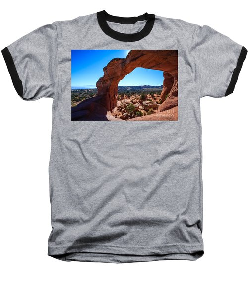 Baseball T-Shirt featuring the photograph Broken Arch Under Blue Sky by Peta Thames