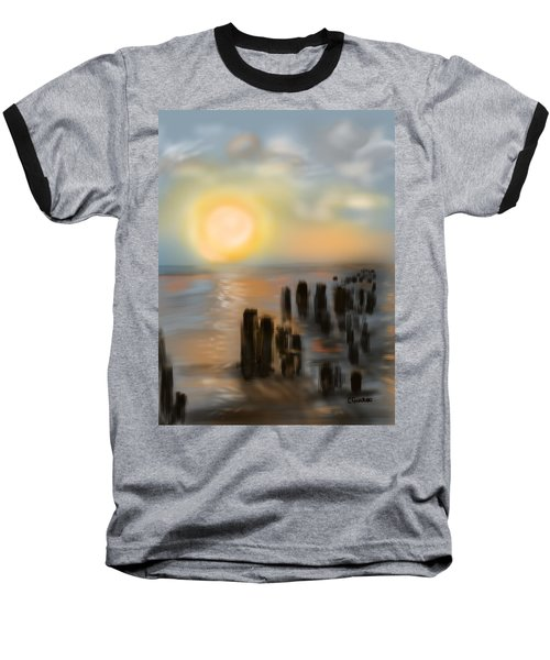 Baseball T-Shirt featuring the digital art Broken Dock by Christine Fournier