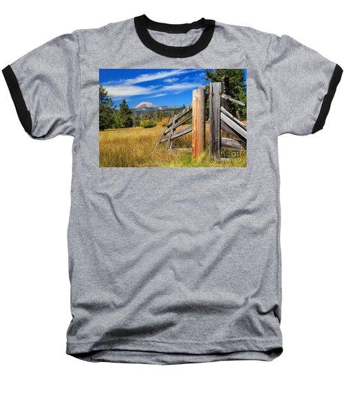 Broken Fence And Mount Lassen Baseball T-Shirt