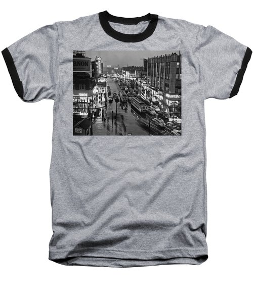 Bronx Fordham Road At Night Baseball T-Shirt