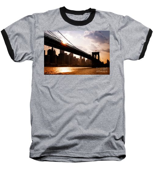 Brooklyn Bridge And Skyline Manhattan New York City Baseball T-Shirt