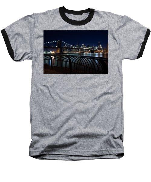 Brooklyn Bridge At Night Baseball T-Shirt