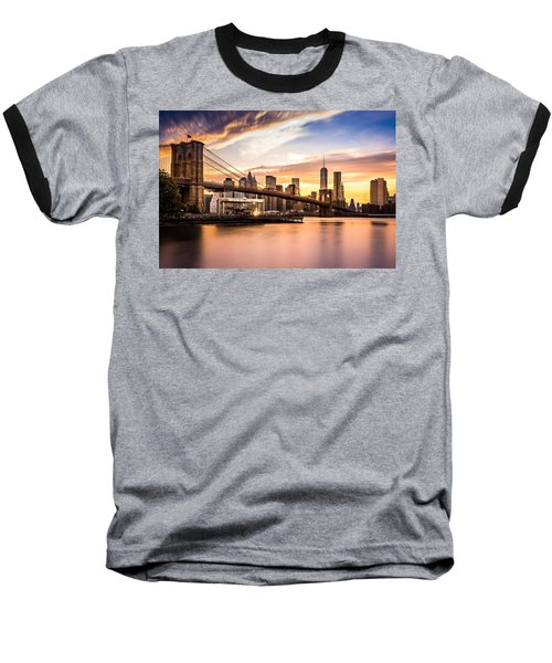 Brooklyn Bridge At Sunset  Baseball T-Shirt