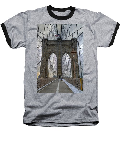 Baseball T-Shirt featuring the photograph Brooklyn Bridge by Jerry Gammon