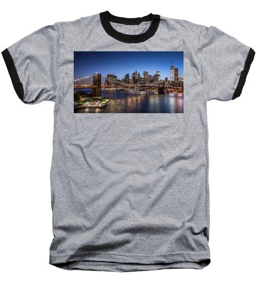 Brooklyn Bridge Baseball T-Shirt by Mihai Andritoiu