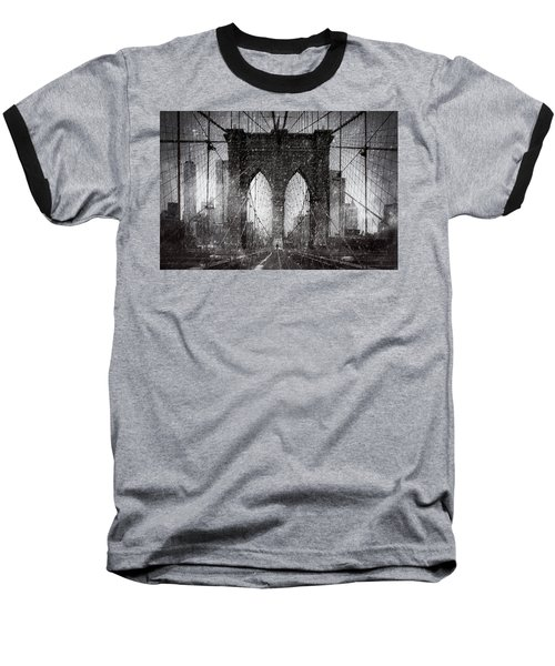 Brooklyn Bridge Snow Day Baseball T-Shirt