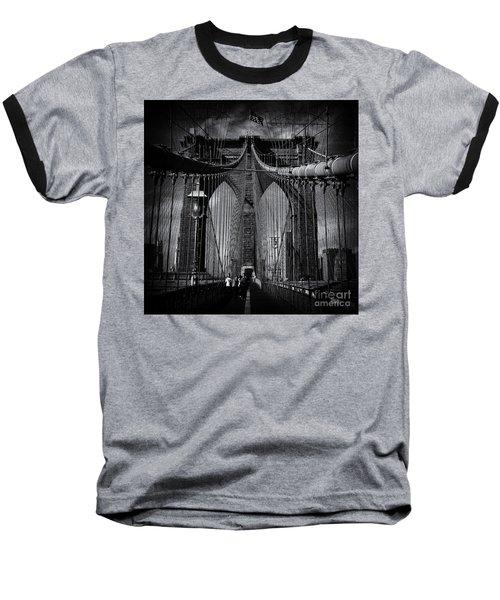 Brooklyn Bridge Up Close New York City Baseball T-Shirt