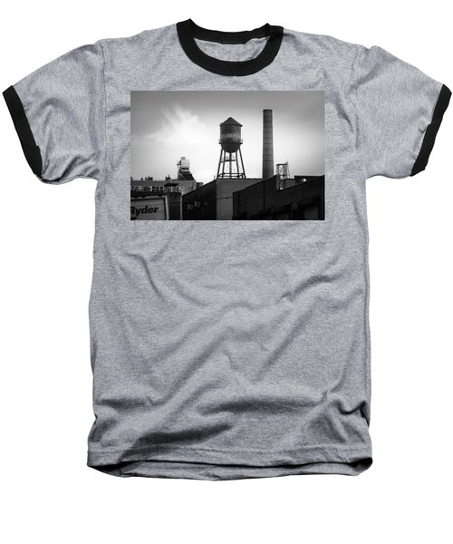 Baseball T-Shirt featuring the photograph Brooklyn Water Tower And Smokestack - Black And White Industrial Chic by Gary Heller