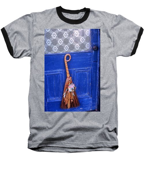 Baseball T-Shirt featuring the photograph Broom On Blue Door by Rodney Lee Williams