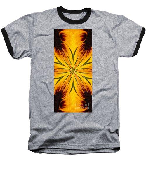 Brown And Yellow Abstract Shapes Baseball T-Shirt