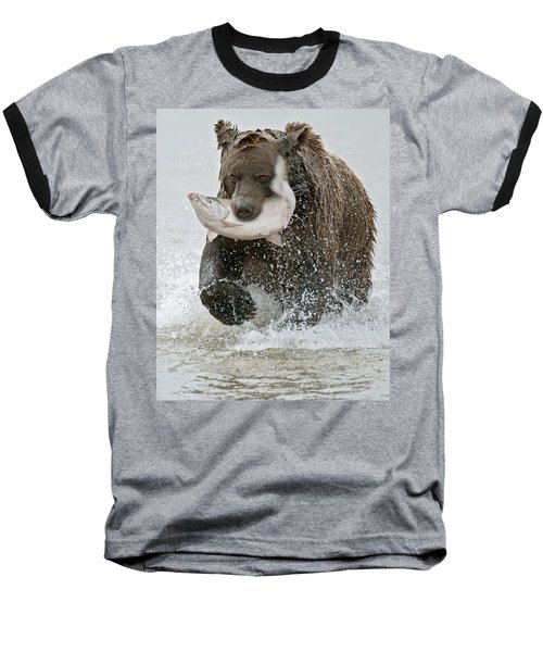 Brown Bear With Salmon Catch Baseball T-Shirt