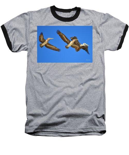 Baseball T-Shirt featuring the photograph Brown Pelicans In Flight by Debra Martz