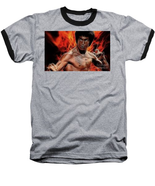 Bruce Lee Baseball T-Shirt by Doc Braham