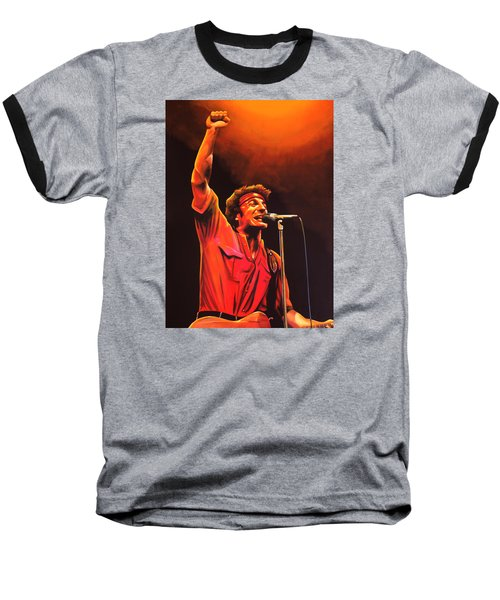 Bruce Springsteen Painting Baseball T-Shirt by Paul Meijering