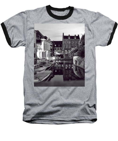 Bruges Canal In Black And White Baseball T-Shirt