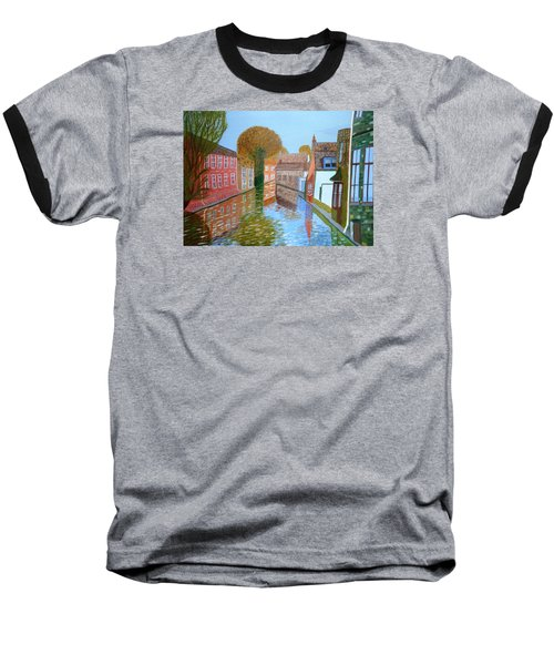 Baseball T-Shirt featuring the painting Brugge Canal by Magdalena Frohnsdorff