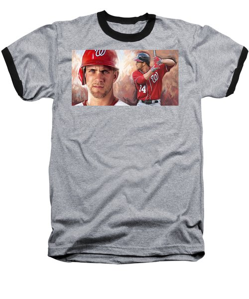 Baseball T-Shirt featuring the painting Bryce Harper Artwork by Sheraz A