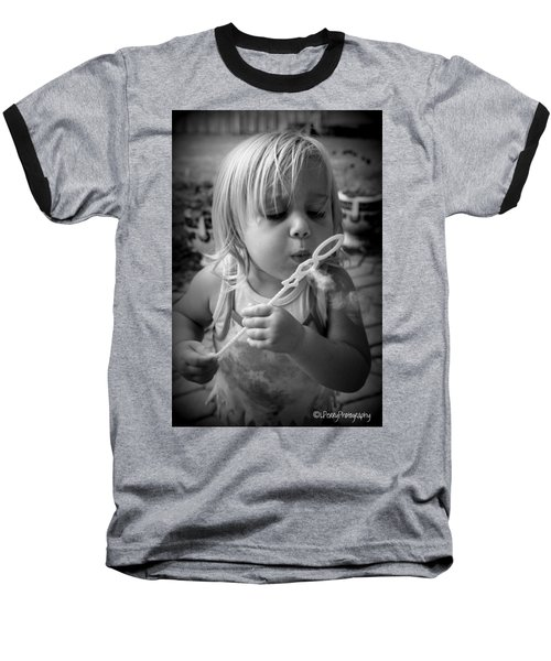 Baseball T-Shirt featuring the photograph Bubble Fun by Laurie Perry