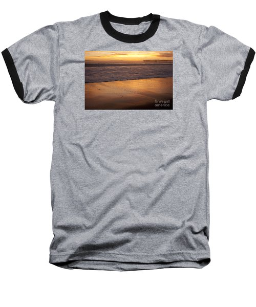 Baseball T-Shirt featuring the photograph Bubbles On The Sand With Ventura Pier  by Ian Donley