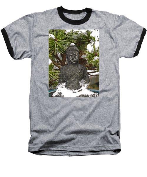 Buddha In The Snow Baseball T-Shirt