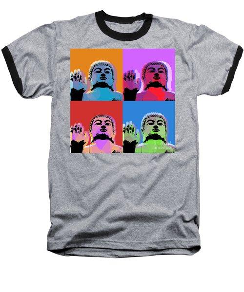 Baseball T-Shirt featuring the digital art Buddha Pop Art - 4 Panels by Jean luc Comperat