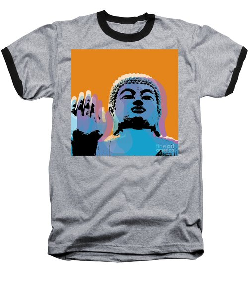 Baseball T-Shirt featuring the digital art Buddha Pop Art - Warhol Style by Jean luc Comperat