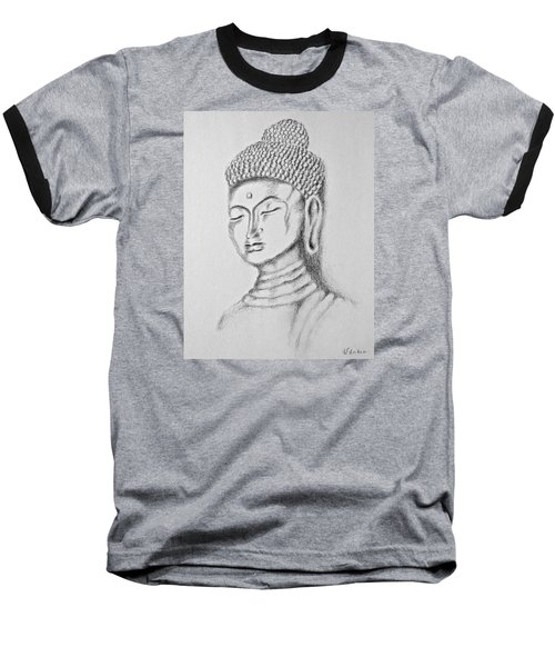 Baseball T-Shirt featuring the drawing Buddha Study by Victoria Lakes