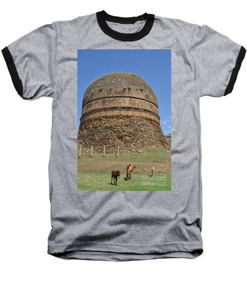 Buddhist Religious Stupa Horse And Mules Swat Valley Pakistan Baseball T-Shirt by Imran Ahmed