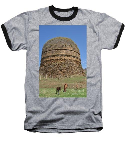 Buddhist Religious Stupa Horse And Mules Swat Valley Pakistan Baseball T-Shirt