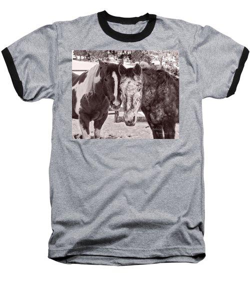 Buddies In Snow Baseball T-Shirt