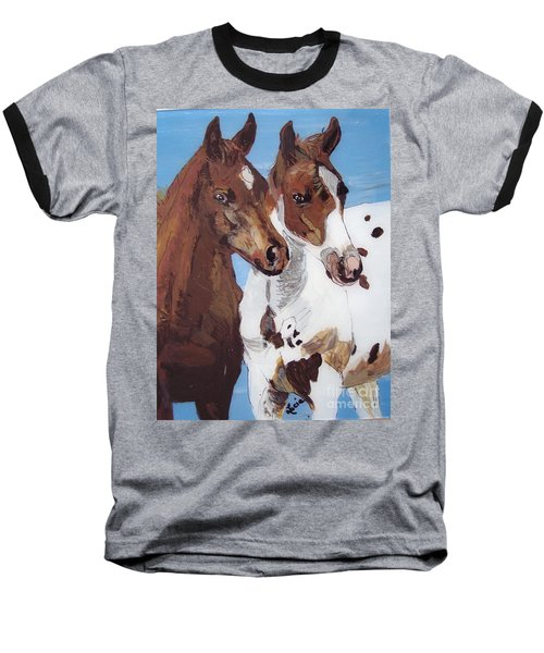 Baseball T-Shirt featuring the painting Buddies by Lucia Grilletto