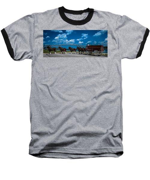 Budweiser Clydsdales And Blue Water Bridges Baseball T-Shirt