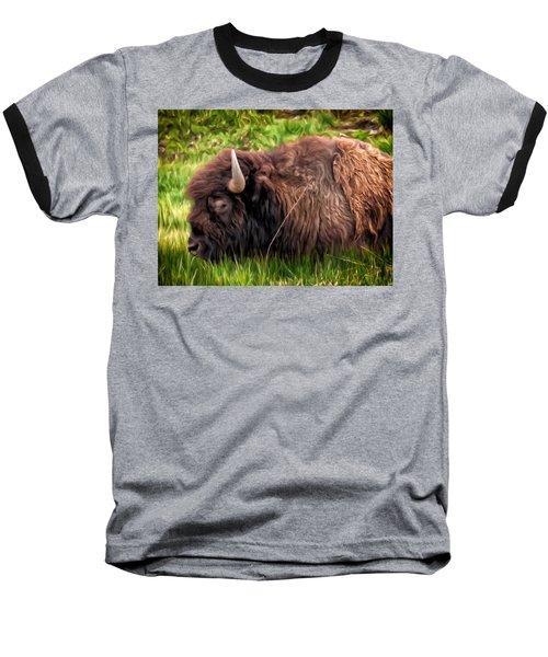 Baseball T-Shirt featuring the painting Buffalo Cat Nap by Michael Pickett