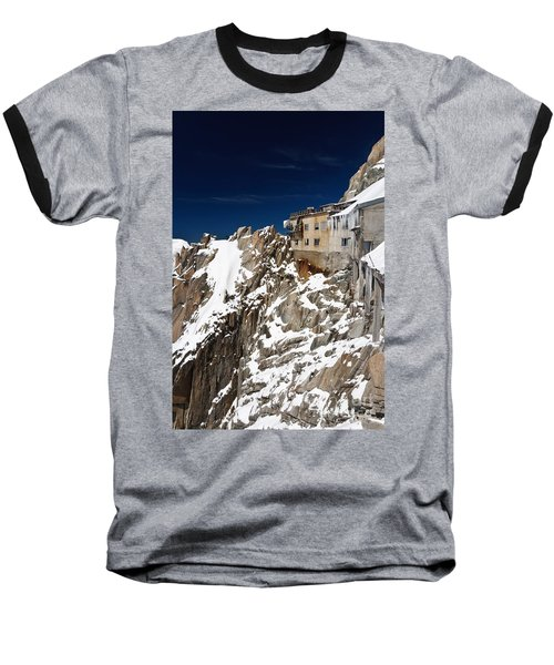 Baseball T-Shirt featuring the photograph building in Aiguille du Midi - Mont Blanc by Antonio Scarpi