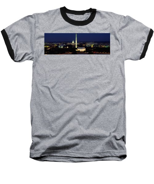 Buildings Lit Up At Night, Washington Baseball T-Shirt by Panoramic Images