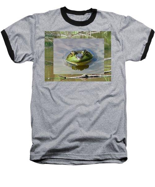 Bull Frog And Pond Baseball T-Shirt