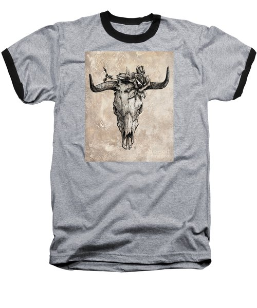 Bull Skull And Rose Baseball T-Shirt