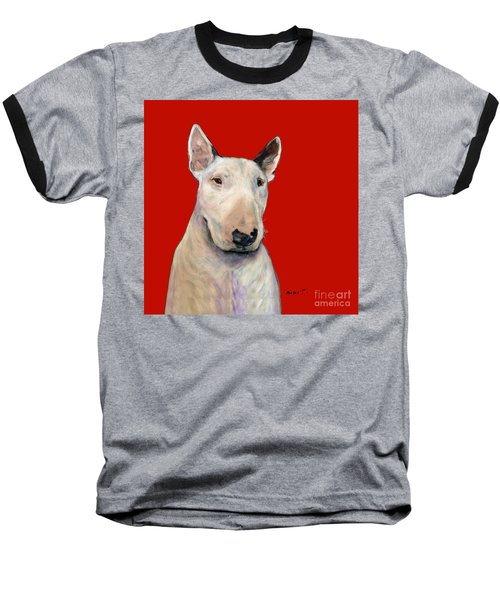 Bull Terrier On Red Baseball T-Shirt
