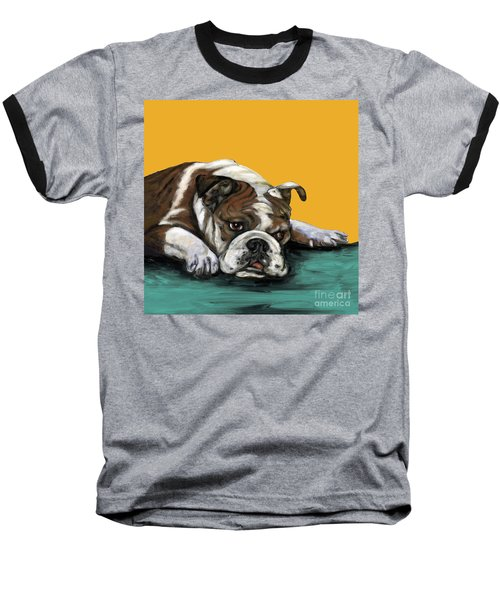 Bulldog On Yellow Baseball T-Shirt