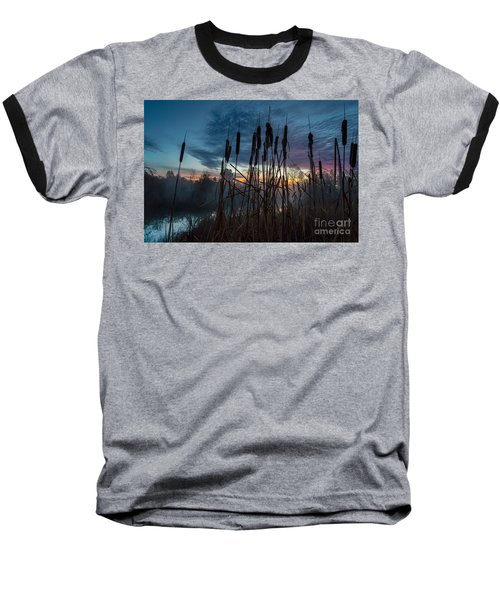 Bulrush Sunrise Baseball T-Shirt