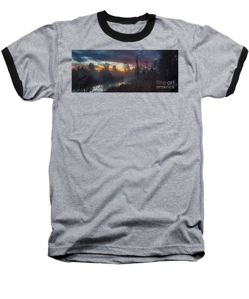 Bulrush Sunrise Full Scene Baseball T-Shirt