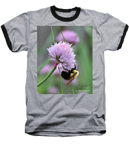 Baseball T-Shirt featuring the photograph Bumblebee On Clover by Barbara McMahon