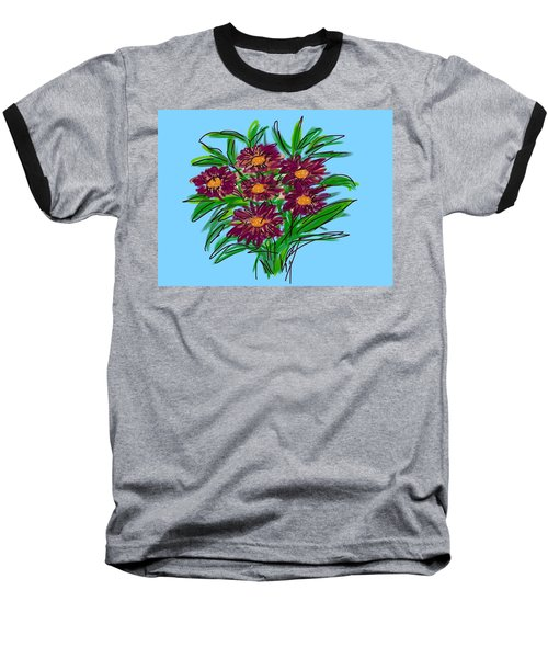 Baseball T-Shirt featuring the digital art Bunch Of Daisies by Christine Fournier