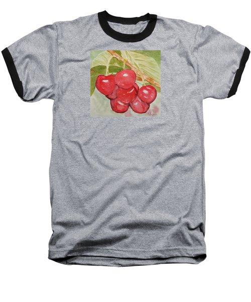 Bunch Of Red Cherries Baseball T-Shirt by Elvira Ingram