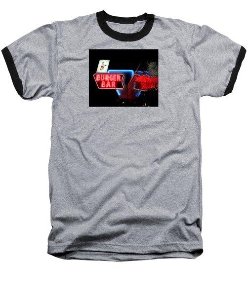 Burger Bar Neon Diner Sign At Night Baseball T-Shirt