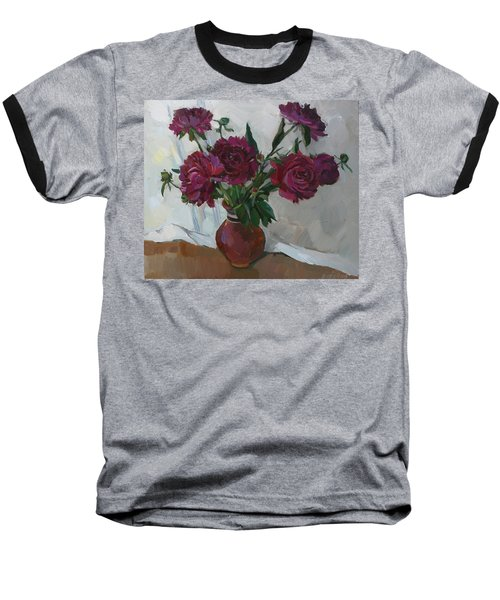 Burgundy Peonies Baseball T-Shirt