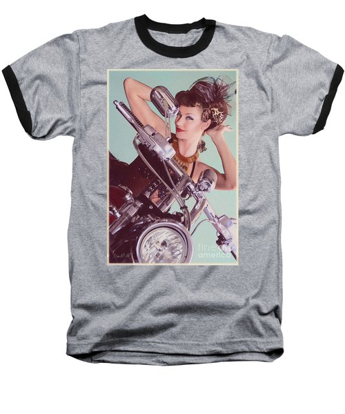Burlesque Biker -portrait Baseball T-Shirt